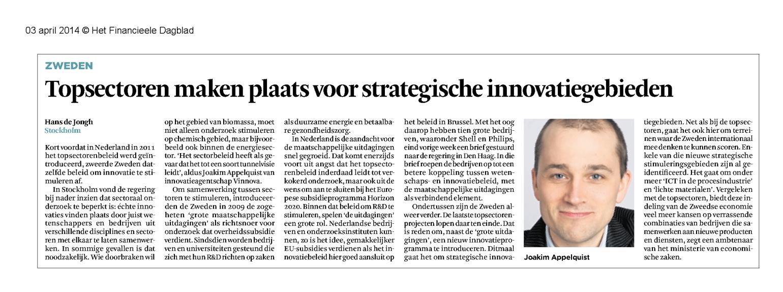 Van topsectoren naar strategische innovatiegebieden FD-20140403